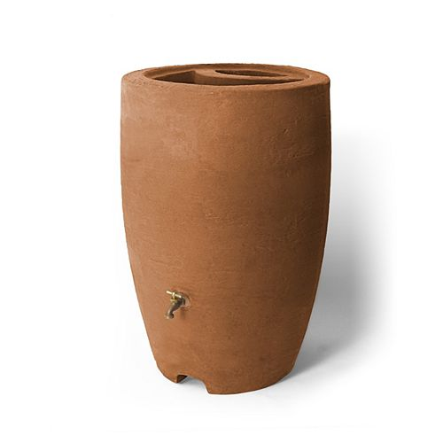 Athena 50 Gal. Rain Barrel with Brass Spigot in Terra Cotta