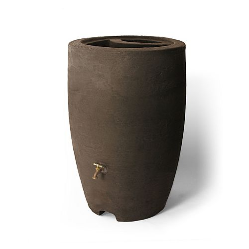 Athena 50 Gal. Rain Barrel with Brass Spigot in Brownstone