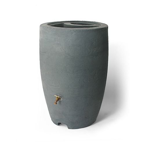 Athena 50 Gal. Rain Barrel with Brass Spigot in Charcoalstone