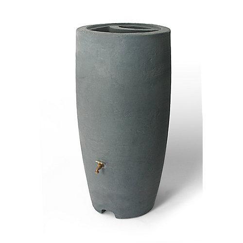 Athena 80 Gal. Rain Barrel with Brass Spigot in Charcoal Stone