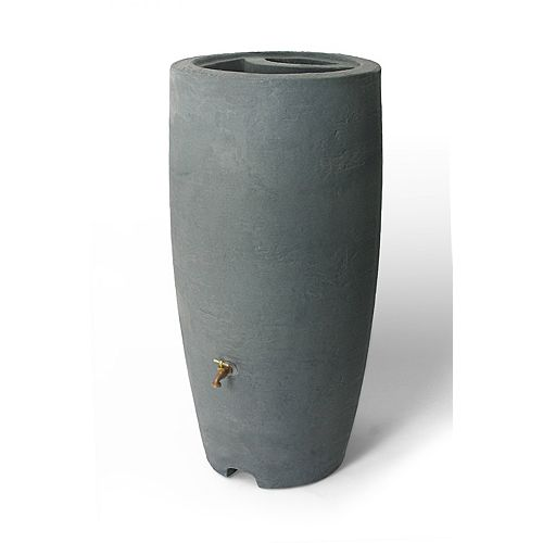 Athena 80 Gal. Rain Barrel with Brass Spigot in Charcoal Stone