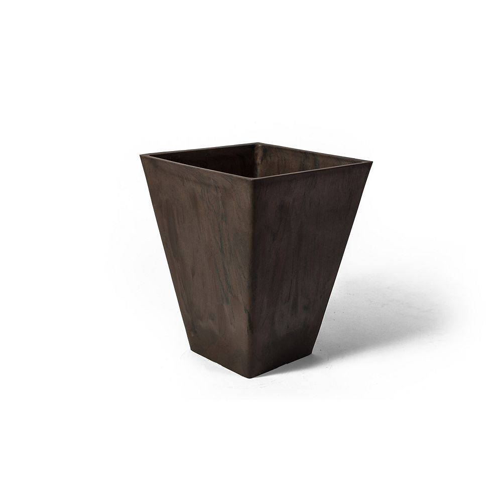 Algreen Products Valencia 11 1/2-inch x 14-inch H Square Planter in Brown Marble