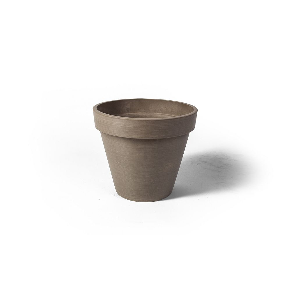 Algreen Products Pot de jardinière rond Valencia Algreen, 13,75 po x 12 po, Taupe Texturé
