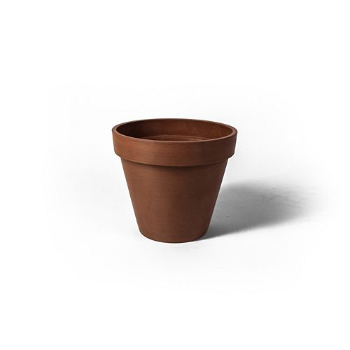 Algreen Products Valencia 13 3/4-inch x 12-inch H Round Band Planter Pot in Textured Terra Cotta