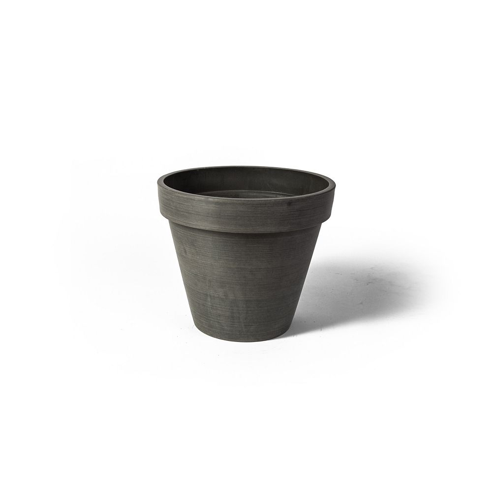 Algreen Products Valencia 19 3/4-inch x 15 3/4-inch H Round Band Planter Pot in Textured Charcoal