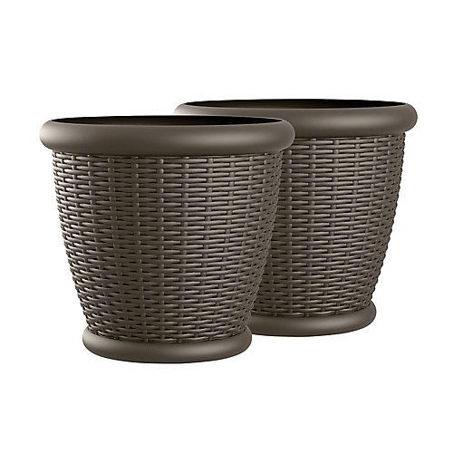 Willow 22-inch x 21-inch Blow Molded Planter (2-Pack)