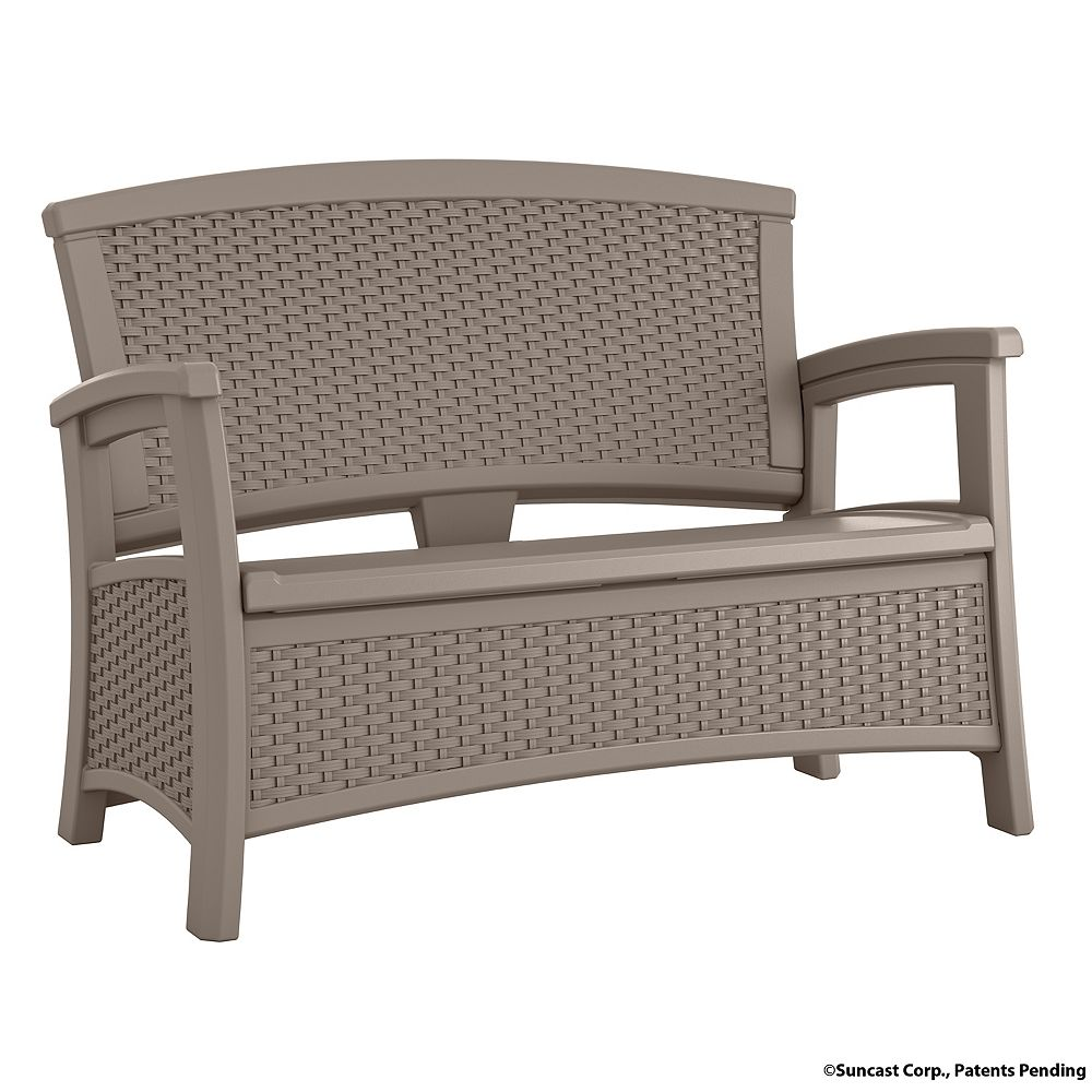 Suncast Wicker Bench with Storage in Taupe