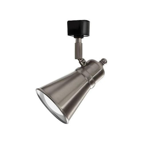 Tête à déflecteur en nickel brossé à1lampe DEL déclairage sur rail