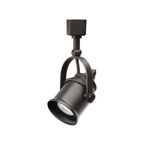 Tête de type projecteur en bronze au fini huilé à1lampe halogène déclairage sur rail