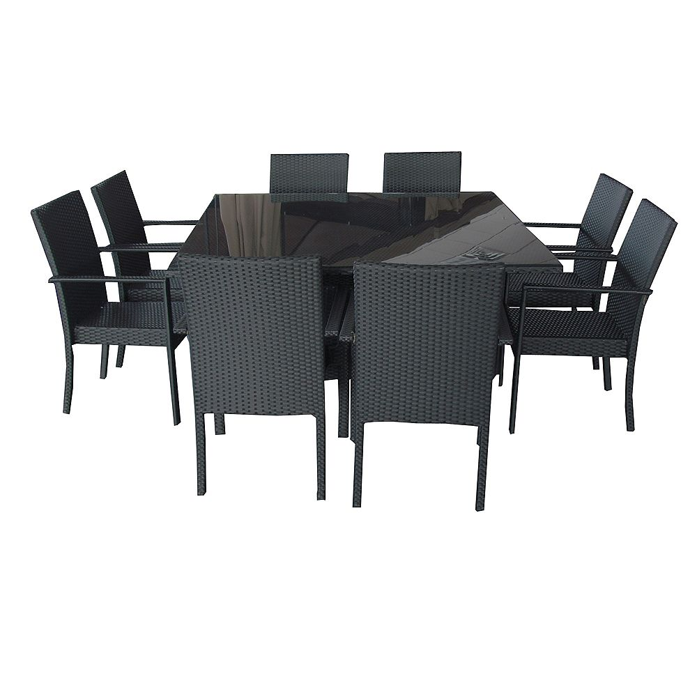Henryka 9-Piece Wicker Patio Dining Set in Black with Rectangular Table and Beige Cushions