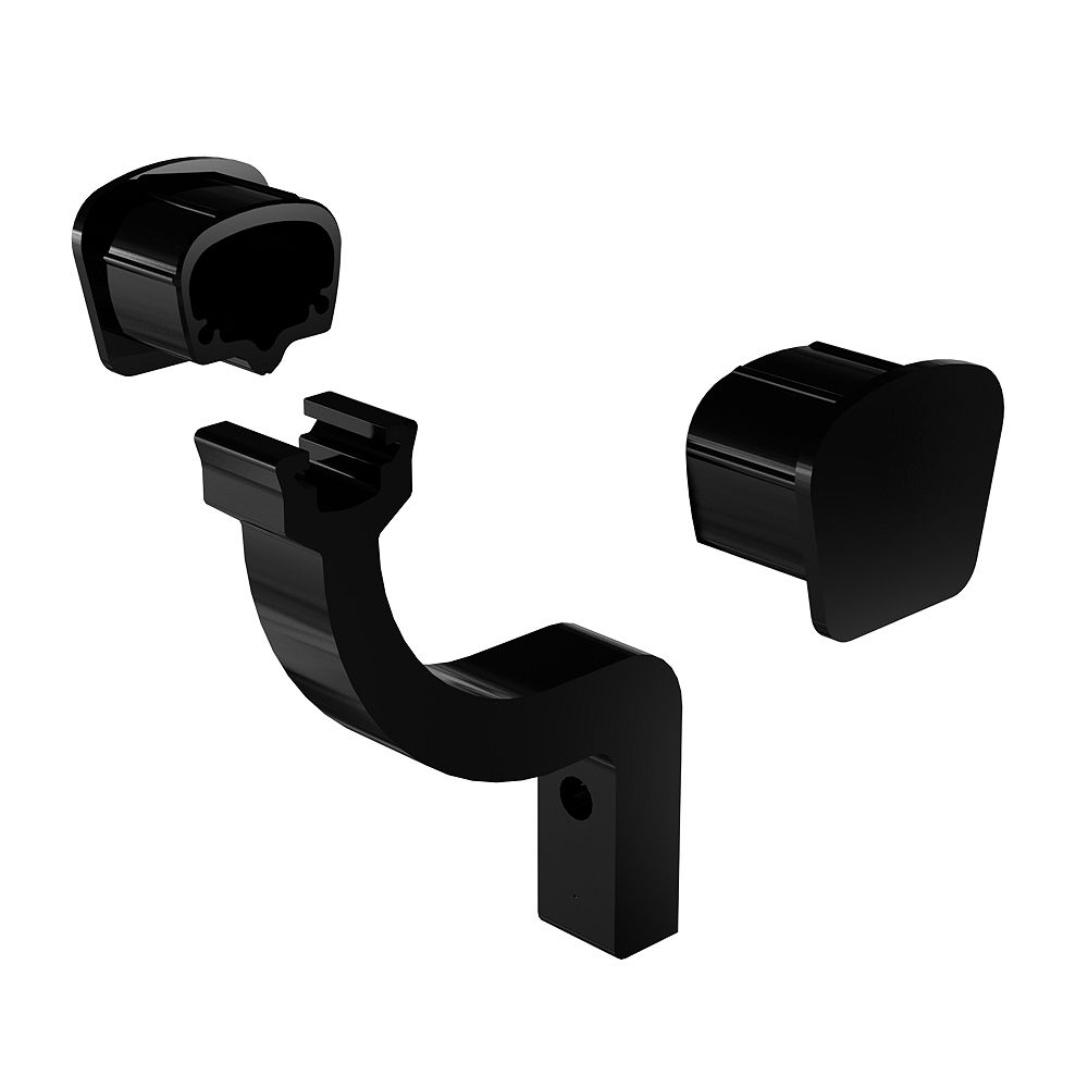 RailBlazers Continuous Handrail Bracket and End Caps in Black