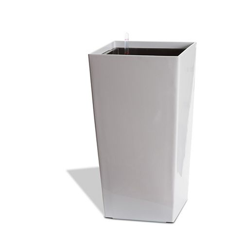 11404 22-inch Self-Watering Square Modena Planter in Glossy White