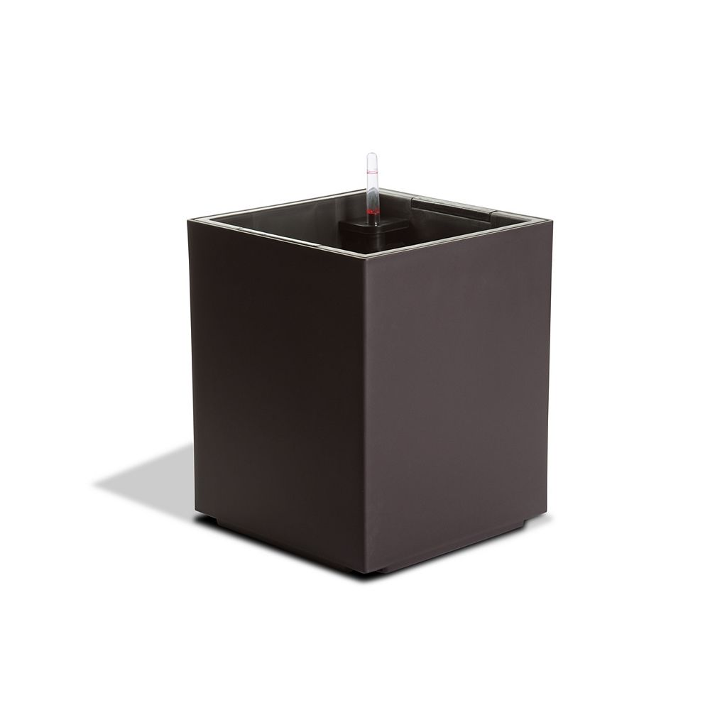 Algreen Products 12101 Self-Watering Modena Cube Planter in Matte Mocha