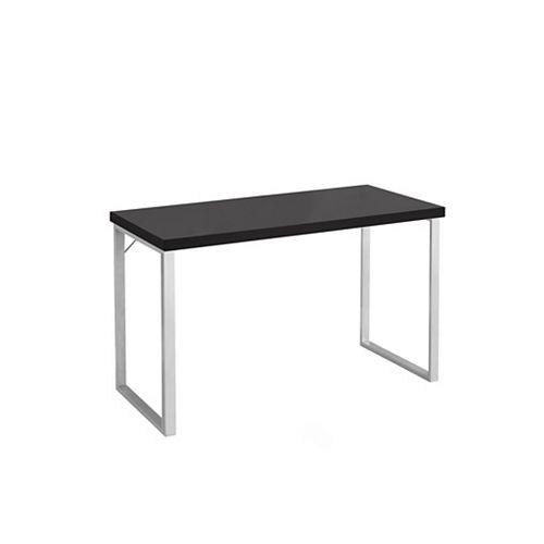 48-inch L Computer Desk in Cappuccino & Silver