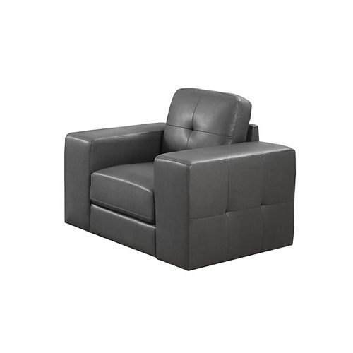 Contemporary Club Faux Leather Accent Chair in Grey with Solid Pattern