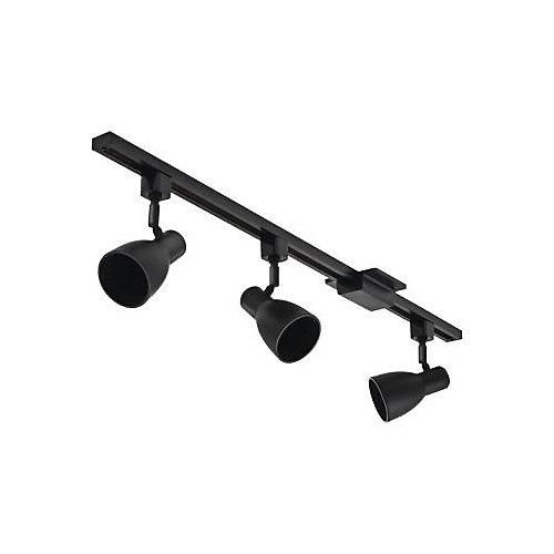 Trousse déclairage sur rail avec tête étroite noire à 3lampes BR20 de113cm (44,5po)