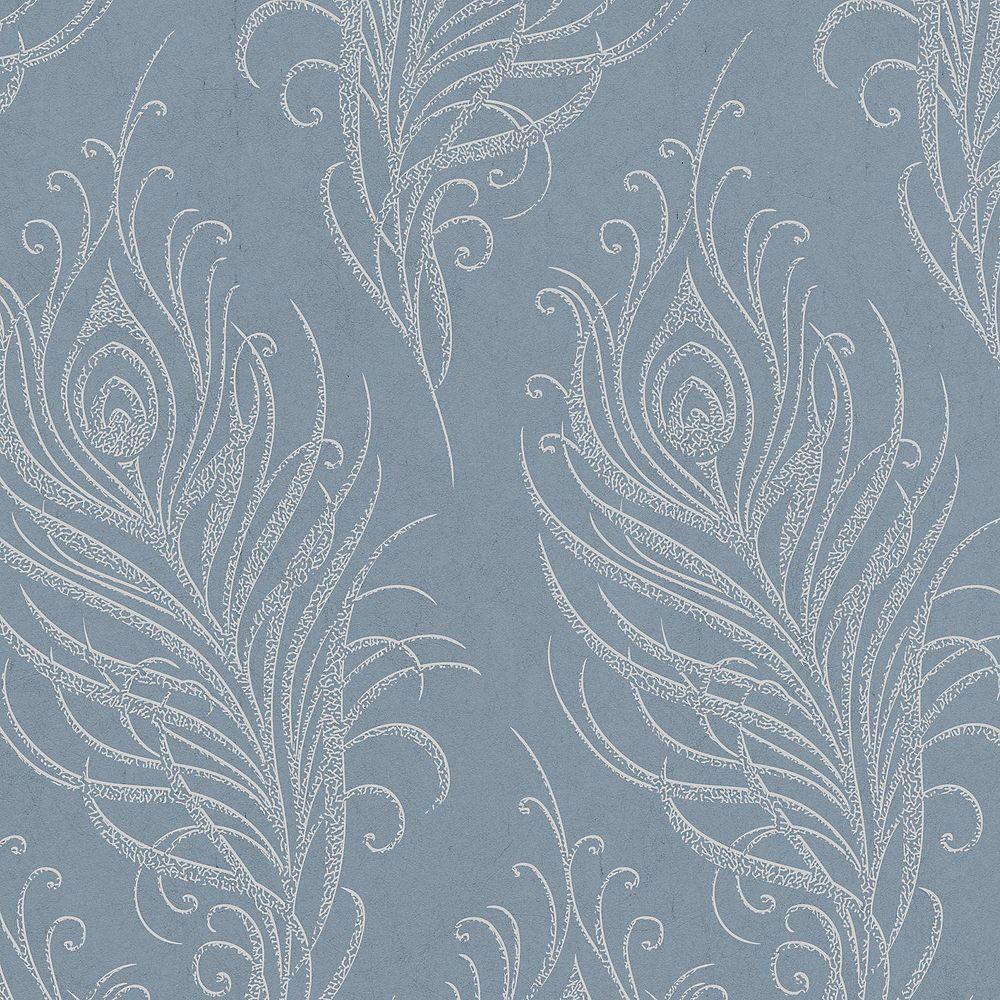Graham & Brown Quill Blue/Silver Wallpaper