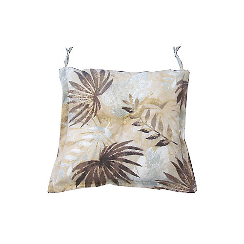 20 x 18 x 3 inch Reversible Dining Chair Seat Cushion with Brown Tropical Pattern