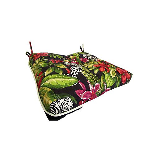 17 x 18 x 4.5 inch Reversible Outdoor Seat Cushion with Multic-colour Piping
