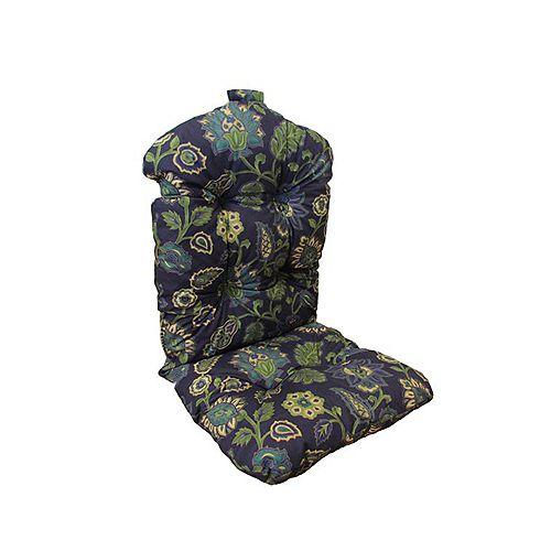 20 x 47 x 4.5 inch Highback Patio Conversation Chair Cushion in Blue Floral