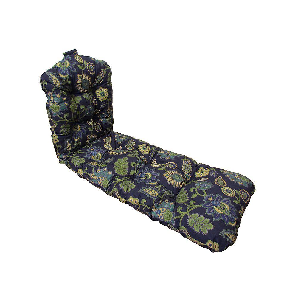 Bozanto Inc. 22 x 70 x 4 inch Patio Chaise Lounge Cushion in Blue Floral