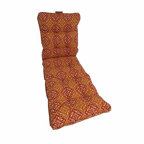 22 x 70 x 4 inch Patio Chaise Lounge Cushion with Red Geometric Pattern