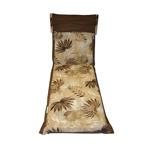 Reversible Chaise Lounge Patio Cushion in Yellow Tropical Pattern