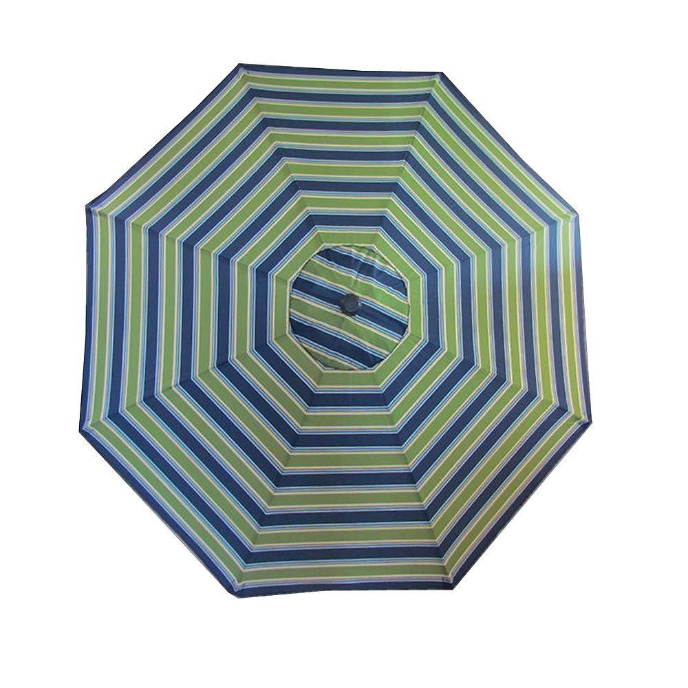 Bozanto Inc. 9 ft. Aluminum Frame Patio Umbrella in Green and Blue Stripe