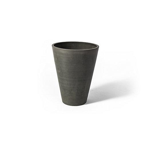 Pot de jardinière rond Valencia Algreen, 10po x 12,75po, Charbon Texturé