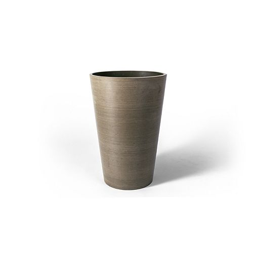 Valencia 12 1/4-inch x 18-inch H Round Planter Pot in Textured Taupe