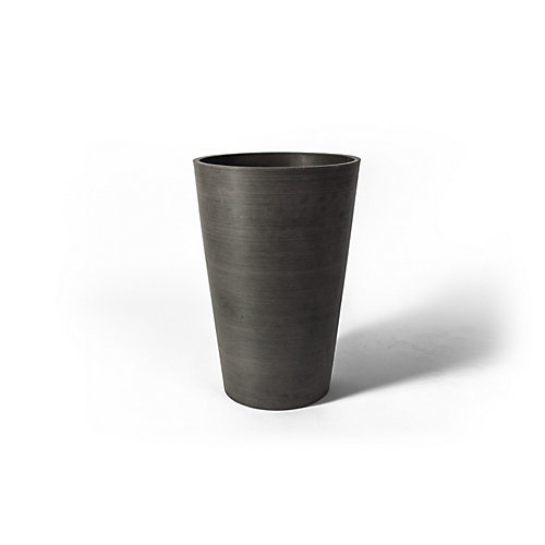 Valencia 12 1/4-inch x 18-inch H Round Planter Pot in Textured Charcoal