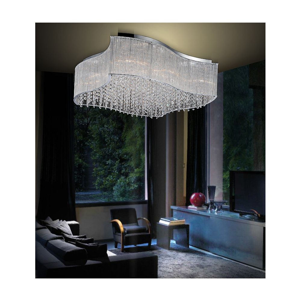 CWI Lighting 10 Light Flush Mount With Clear Crystals
