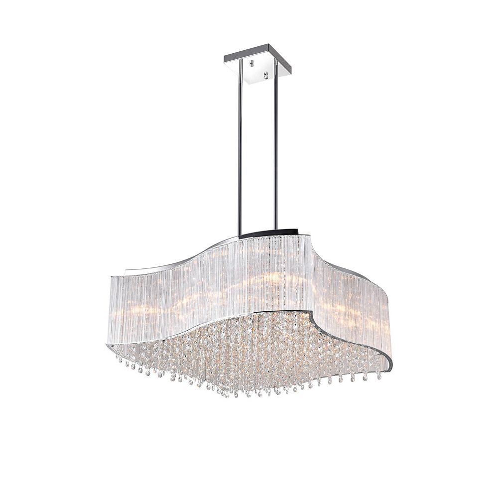 CWI Lighting 12-Light 40W Chrome Chandelier with Clear Crystals