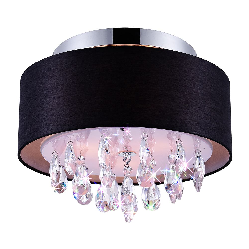 CWI Lighting 3 Light Flush Mount With Black Shade