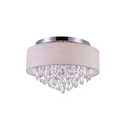 4-Light Flush Mount Lighting Fixture in Polished Chrome with Off White Shade