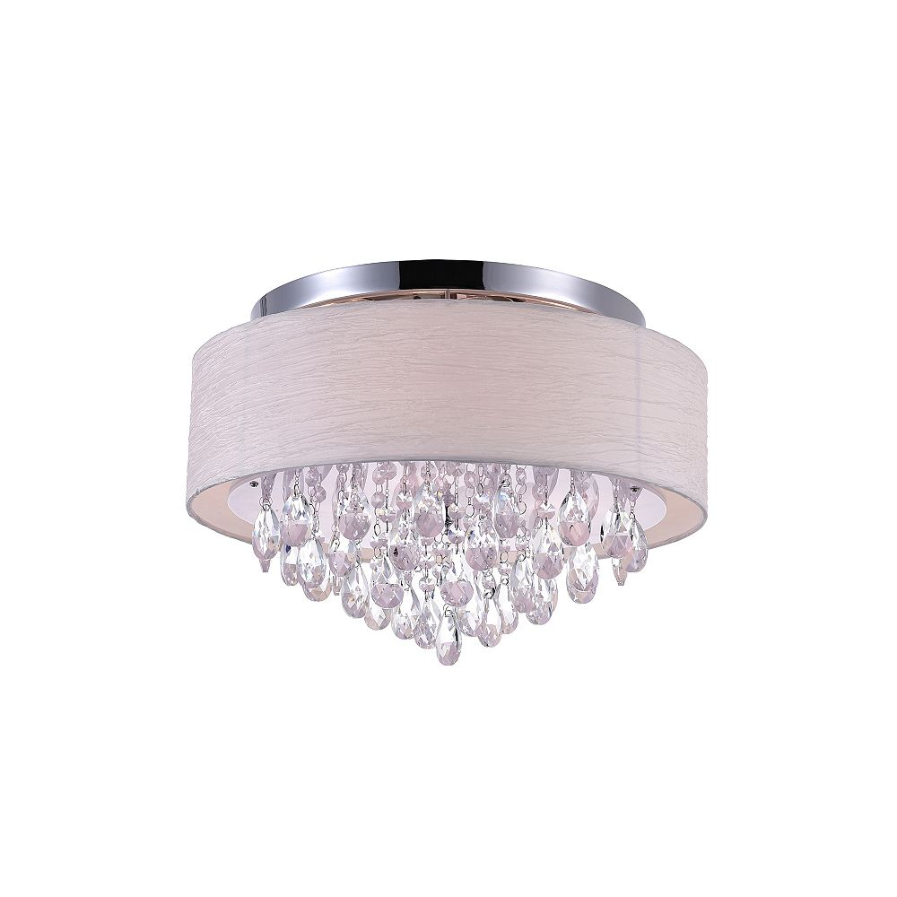 CWI Lighting 4-Light Flush Mount Lighting Fixture in Polished Chrome with Off White Shade