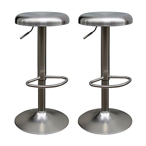 Saxo Metal Grey Contemporary Backless Armless Bar Stool with Grey Metal Seat (Set of 2)