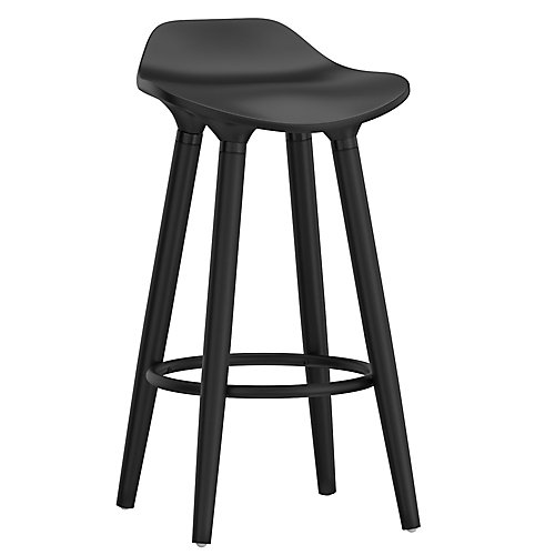 Trex Metal Chrome Contemporary Low Back Armless Bar Stool with White Solid Wood Seat - (Set of 2)