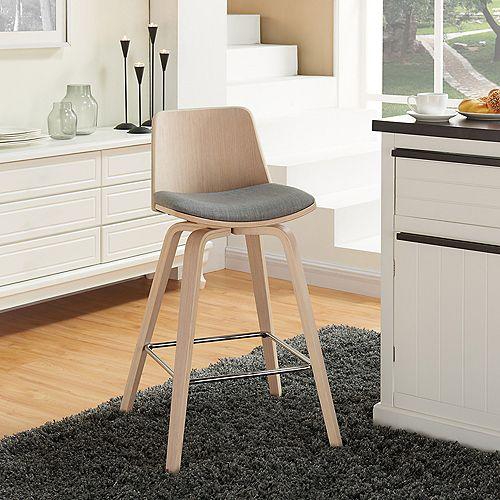 Vita Solid Wood Beige Modern Full Back Armless Bar Stool with Grey Fabric Seat (Set of 2)