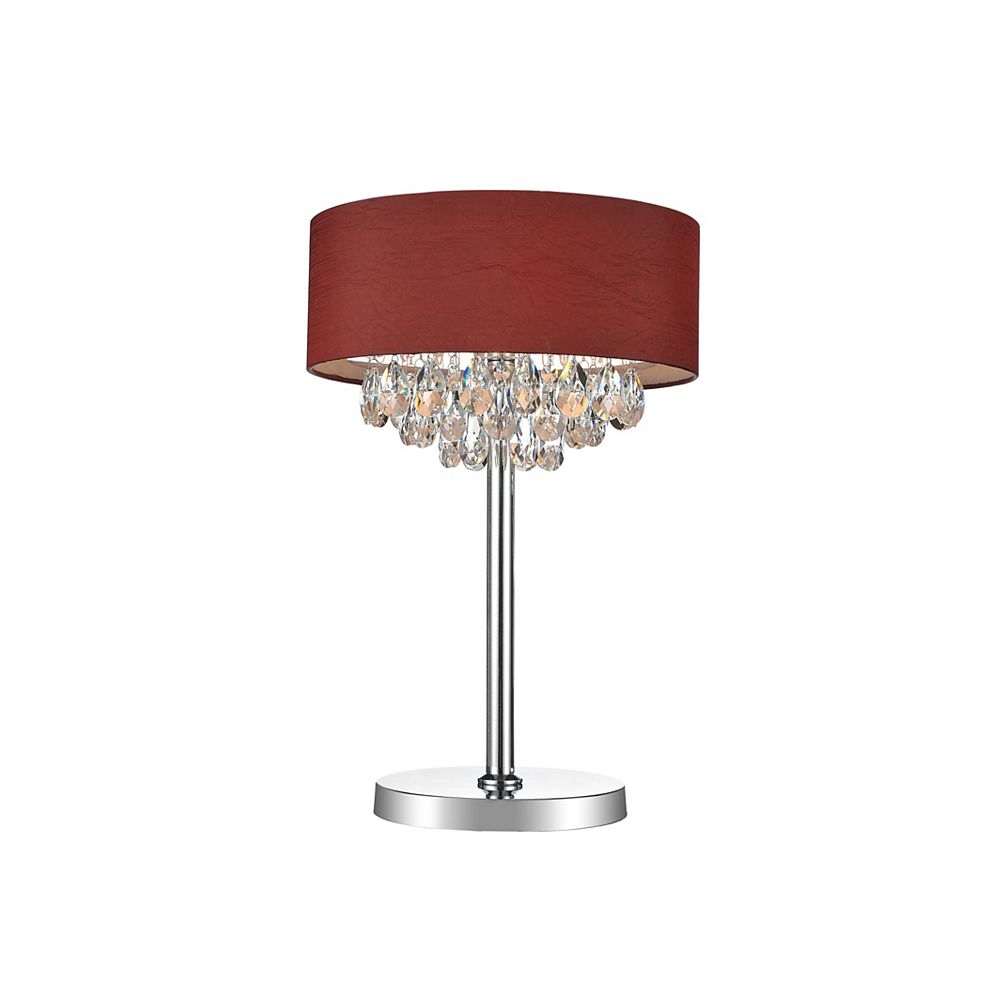 CWI Lighting 3 Light Table Lamp With Wine Red Shade