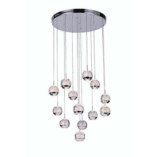 Lustre à 13 lampes avec base circulaire chromée