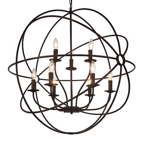 Lustre à 9 lampes au fini marron