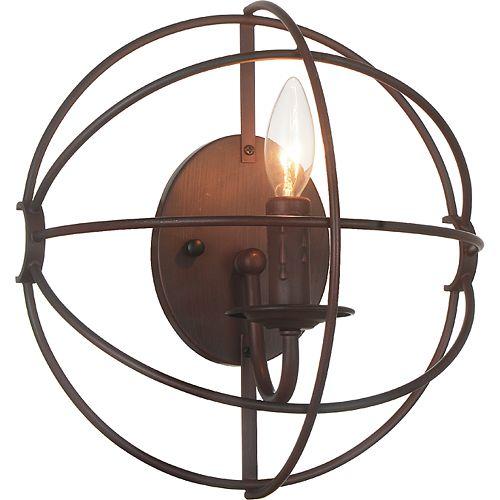 Applique murale à 1 lampe au fini marron