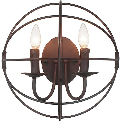 CWI Lighting 2 Light Wall Sconce With Brown Finish