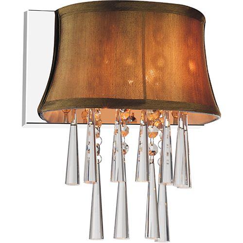 Applique murale à 1 lampe avec abat-jour marron