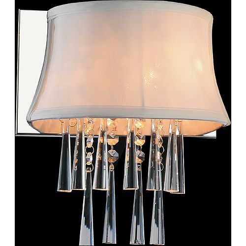 CWI Lighting 1 Light Wall Sconce With Off White Shade