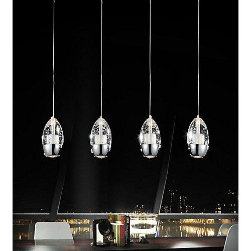 Lustre à 4 lampes avec base rectangulaire chromée