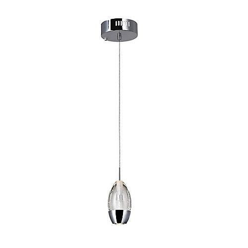 Mini suspension à 1 lampe avec base circulaire chromée