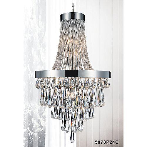 Lustre à 13 lampes orné de cristaux transparents
