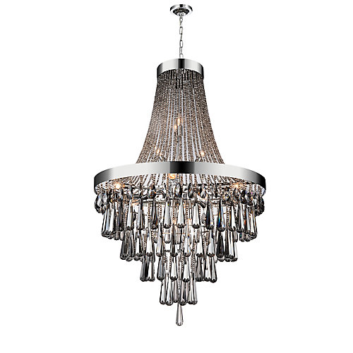 17-Light Chandelier in Chrome with Smoke Crystals